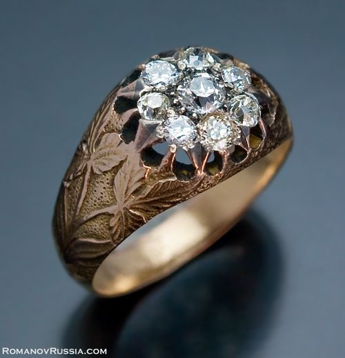 An Art Nouveau Antique Russian Diamond Cluster Ring made in Odessa (modern Ukraine) between 1908 and 1917. Interesting, that this unisex ring could be worn by both women and men. Originally, the ring belonged to a Russian nobleman.