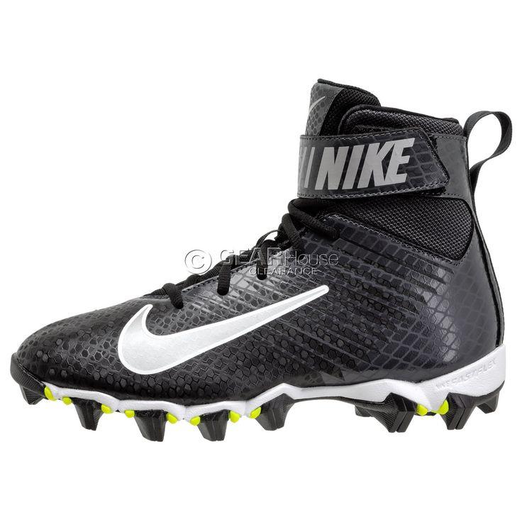 New Nike Strike Shark Mens High Top Football Cleats Lineman : Black / Silver