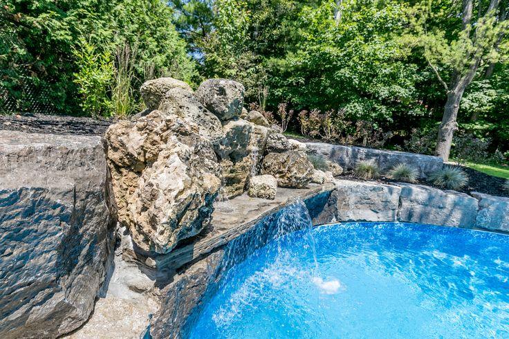 Rock Waterfall Feature inground Pool