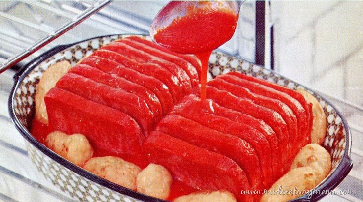 Oven Barbecue – 1955.  Another from Mid-Century Menu.  It's canned luncheon meat (aka Spam), canned potatoes, and a spiced tomato sauce.