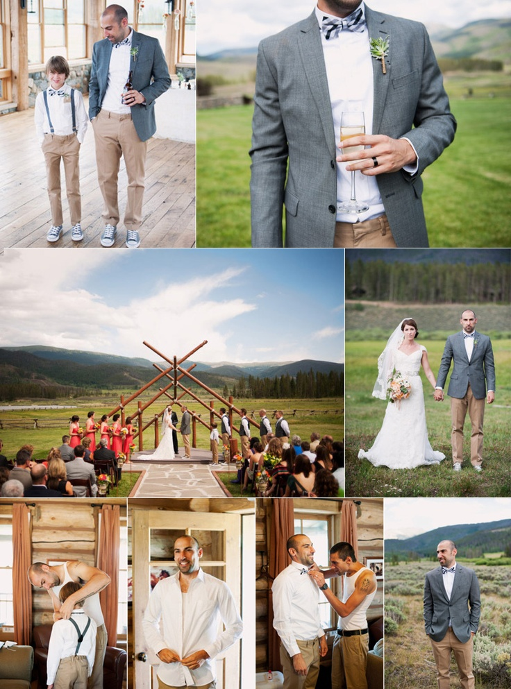 Danny + Erin — groom: white shirt w/ black check bow tie; groomsmen: white shirt, gray vest, black check bow tie; page boy: black check bow tie, gray suspenders (photography: brinton studios, as seen in @Style Me Pretty )