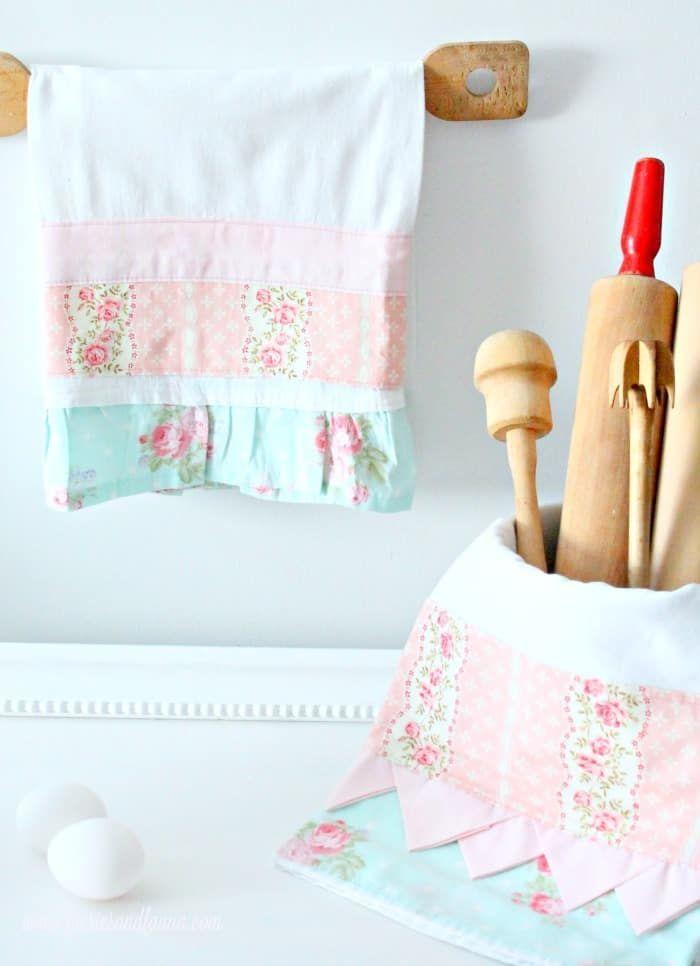 Pretty Tea Towel Tutorial | Sewing | Pinterest | Sewing, DIY