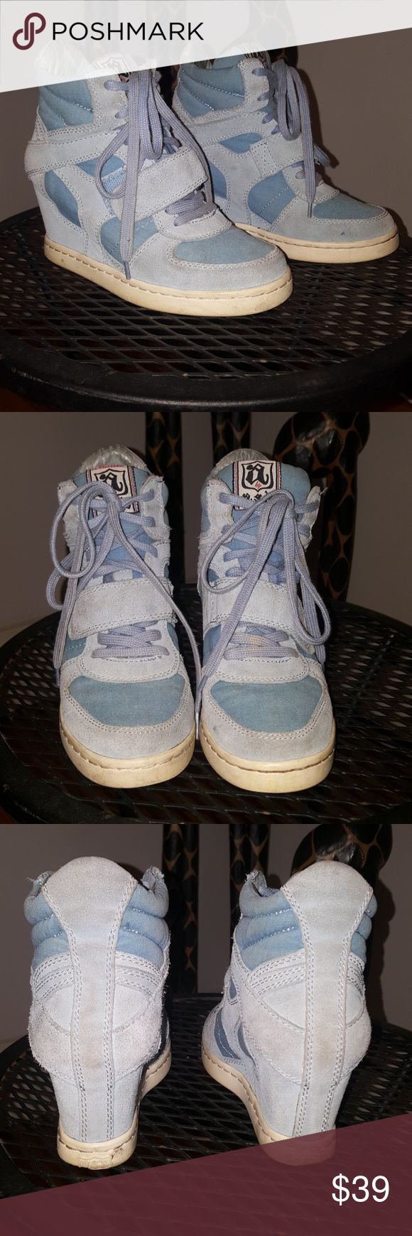 "Ash ""Cool"" Baby Blue Wedge Sneakers Ash ""Cool"" Baby Blue Wedge Sneakers. Normal wear and very good condition. Size 37 European which equals a 7 US but please note Ash shoes run small. Would best fit a size 6 or 6.5. Ash Shoes Athletic Shoes"
