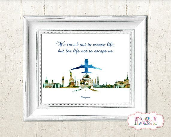 Travel  watercolor - Wall Art Print ~ Instant download, JPG PDF Printable