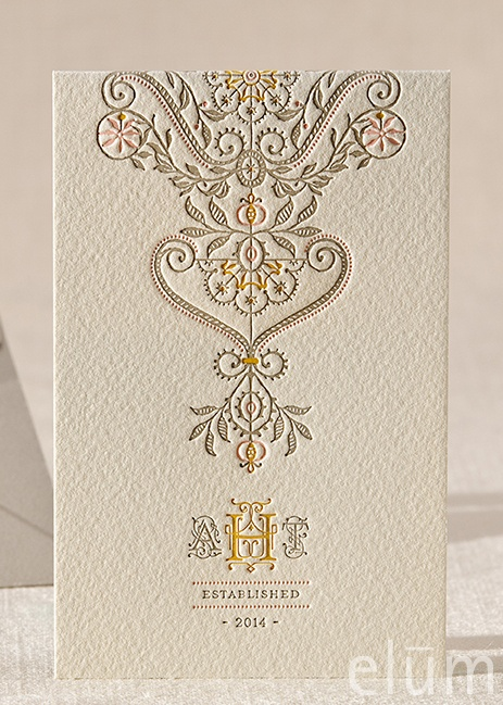 DARJEELING | Elum Couture Vol. 3, Letterpress Informal Note | Elum Designs, Letterpress Stationery, Invitations & Curator of Designer Paper Goods. Nothing short of small works of art. Yellow, pink, gray, whimsical wedding, ethereal wedding, bohemian wedding, romantic wedding, Indian wedding, elaborate mosaic tiling, stained glass works, captivating, ode to bespoke craftsmanship