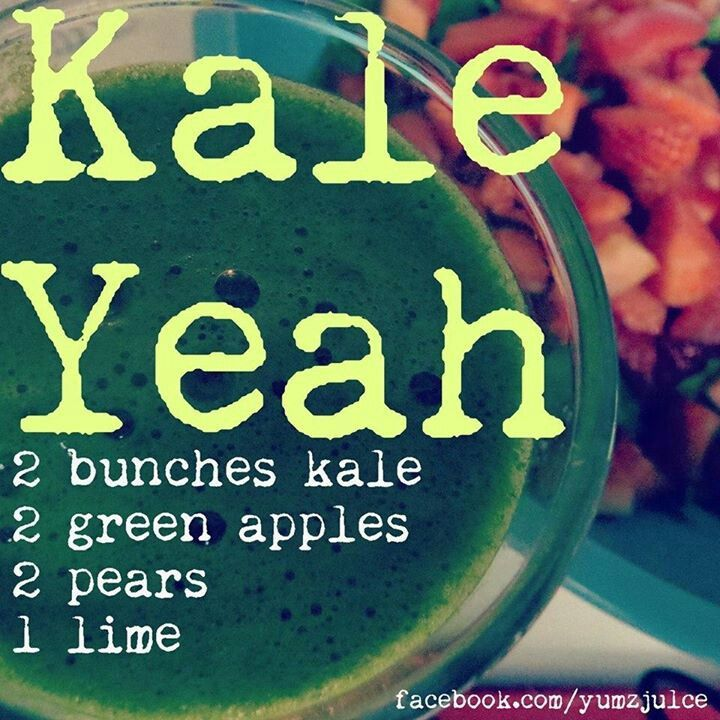 Kale yeah juice recipe  Kale pears green apples lime