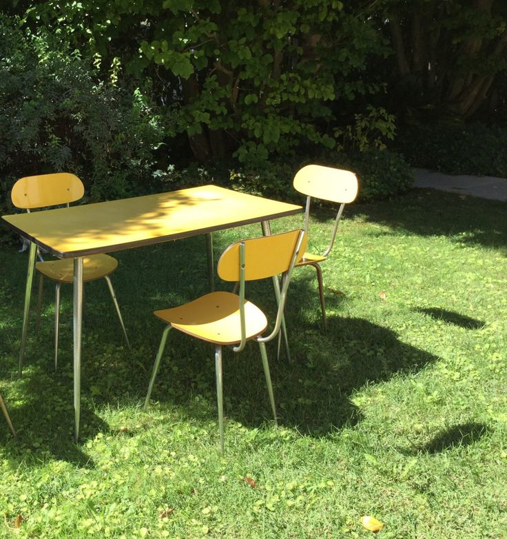 3 vintage yellow chairs formica by tanievintageitaliy on Etsy https://www.etsy.com/listing/465937010/3-vintage-yellow-chairs-formica
