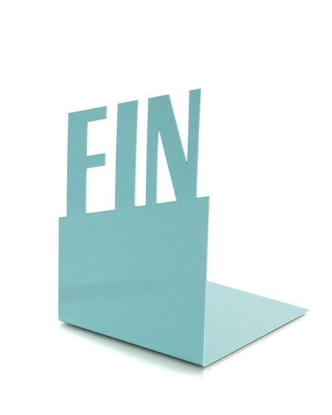 Typographic Bookend - Fin by Goodwin. Make your bookshelves sing. Free shipping thru 12/6!