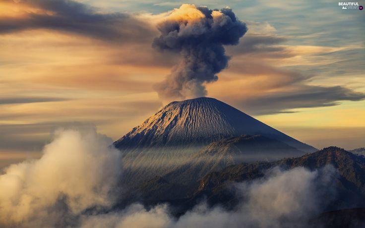indonesia, Semeru, volcano, Mountains