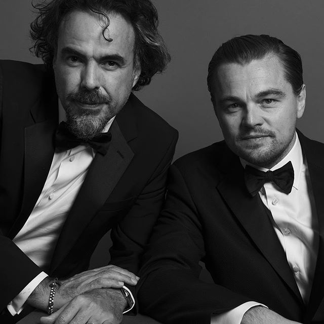 "Alejandro Inarritu and Leonardo DiCaprio (@leonardodicaprio), Best Director - Motion Picture and Best Performance By An Actor In A Motion Picture - Drama, for ""The Revenant"". Photo by @inezandvinoodh #goldenglobes"