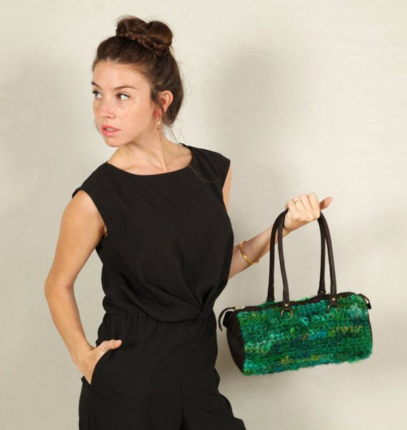 Green Hand Knitted Handbag-Green Handbag-Shoulder Bag-Recycled Silk  Handbag- Holyday Gift for Her-Most Special Gift For Her-Colorfull Bag