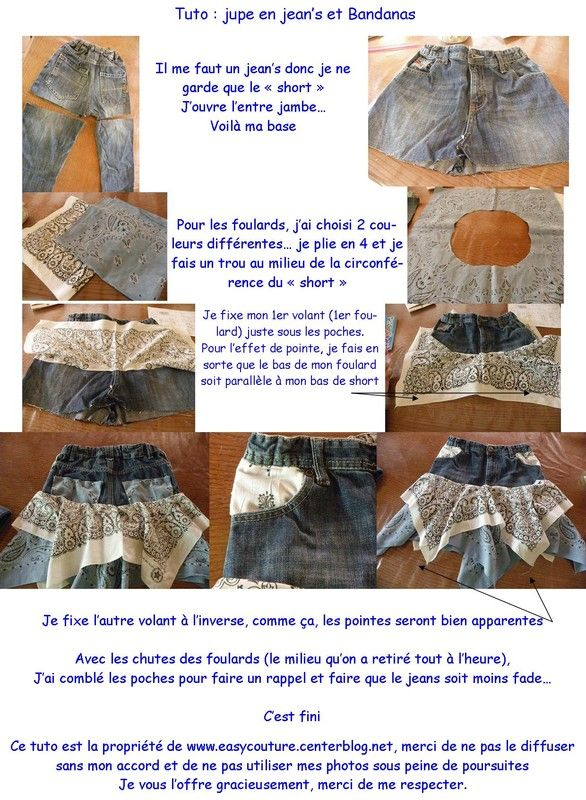 Tuto Jupe Bandanas - Diy, sewing, remake, reuse, recycle, upcycle, how to make, tutorials, patterns, technique, fabric, material, old jeans, denim, easy, mending, scraps, patchwork