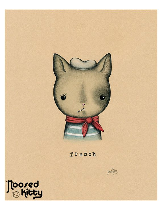 french cat print by noosedkitty on etsy