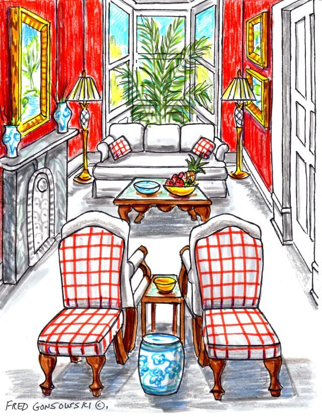 Some ideas for arranging furniture in a long and narrow living room with many entrance doors, archways and windows.  Like the idea of back to back chairs.