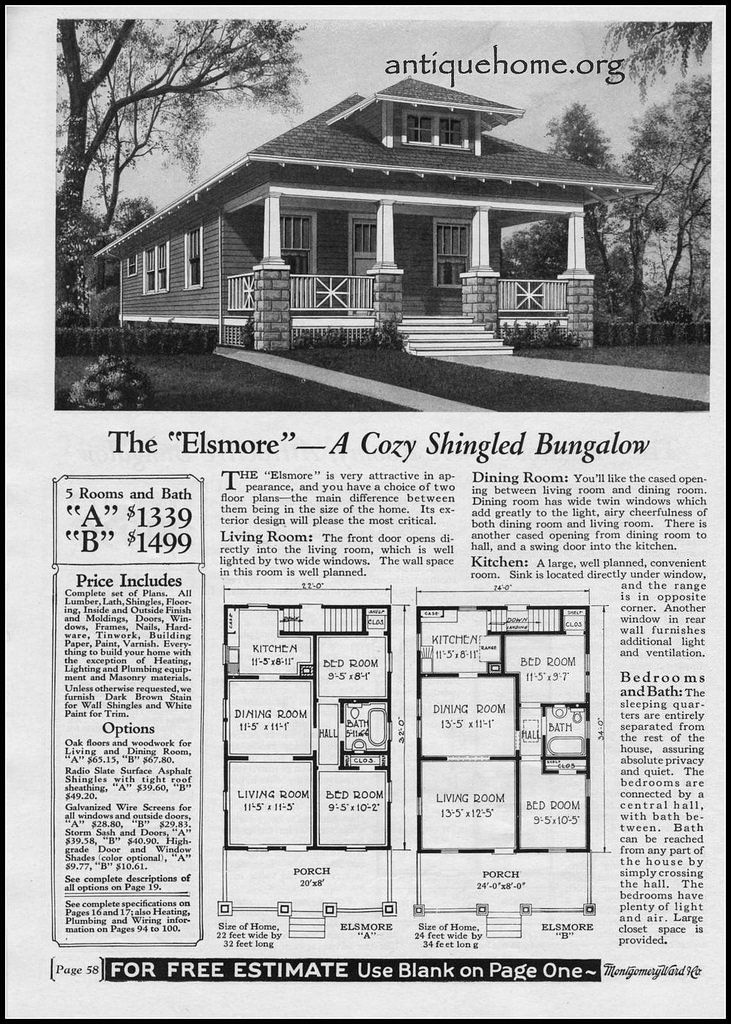 1900 Montgomery Ward House Plans on 1920s Bungalow House Plan Design