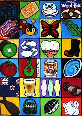 Swandries, sunlight soap, Pavlova, Weetbix, Jaffas, Buzzy bee, Monarch Butterfly, fern (or seaweed?), Kiwifruit, Jandles, Hokey Pokey icecream, Gumboots, Tomato sauce container, Pounamu (greenstone), Edmonds baking powder, Paua shell, NZ flag, Beer, eskimo lollies, roman sandles, chocolate fish, Kai (seafood) in a Kete (flax bag), All Blacks, Crown Lynn Swan plant holder.