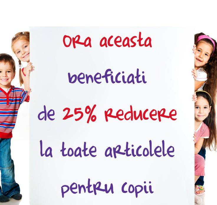 MiniPrix pentru copii! Până la orele 16 beneficiaţi de o reducere de 25% la toată gama de articole pentru copii! Spor la cumpărături!