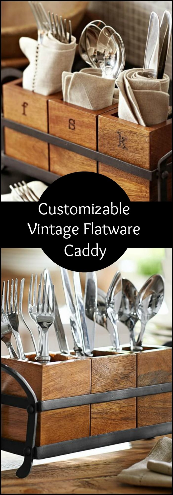 This flatware caddy is a great addition to any farmhouse table. It can also be customized with a name, monogram, or simple letters. #potterybarn #rustichome #farmhouse #affiliate #oybpinners