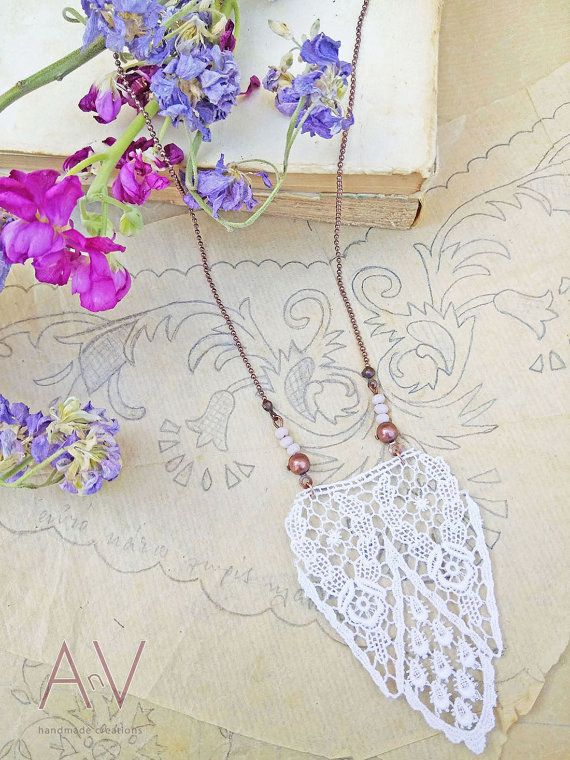 Lace Pendant White Lace Necklace Art by AnVhandmadecreations