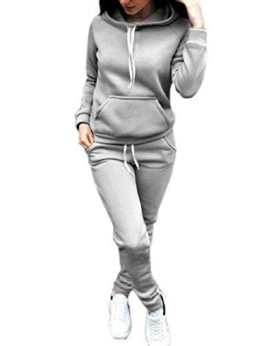 e70ce494d Women's Solid Color Two Piece Hooded Fall Winter Sweatsuit Set ...