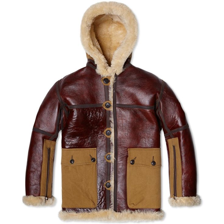 The indisputable highlight of the Nigel Cabourn AW14 collection, the Coastal Command Jacket is the epitome of his approach. Based on a vintage WWII Raf Jacket from his personal archive, absolutely no expense is spared in it's execution, from the British Redwood sheepskin shell, to the 20 year wash army canvas detailing and full bridle leather trimmed seams. An example of just what can be achieved when a design is allowed to work completely unencumbered, this limited edition piece is a thing…