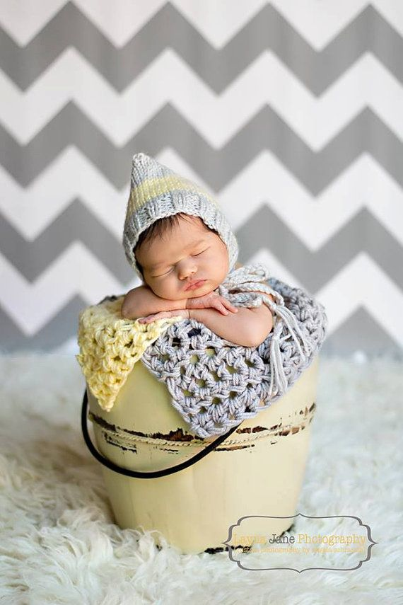newborn photography prop striped pixie hat buttercup light grey baby boy baby girl