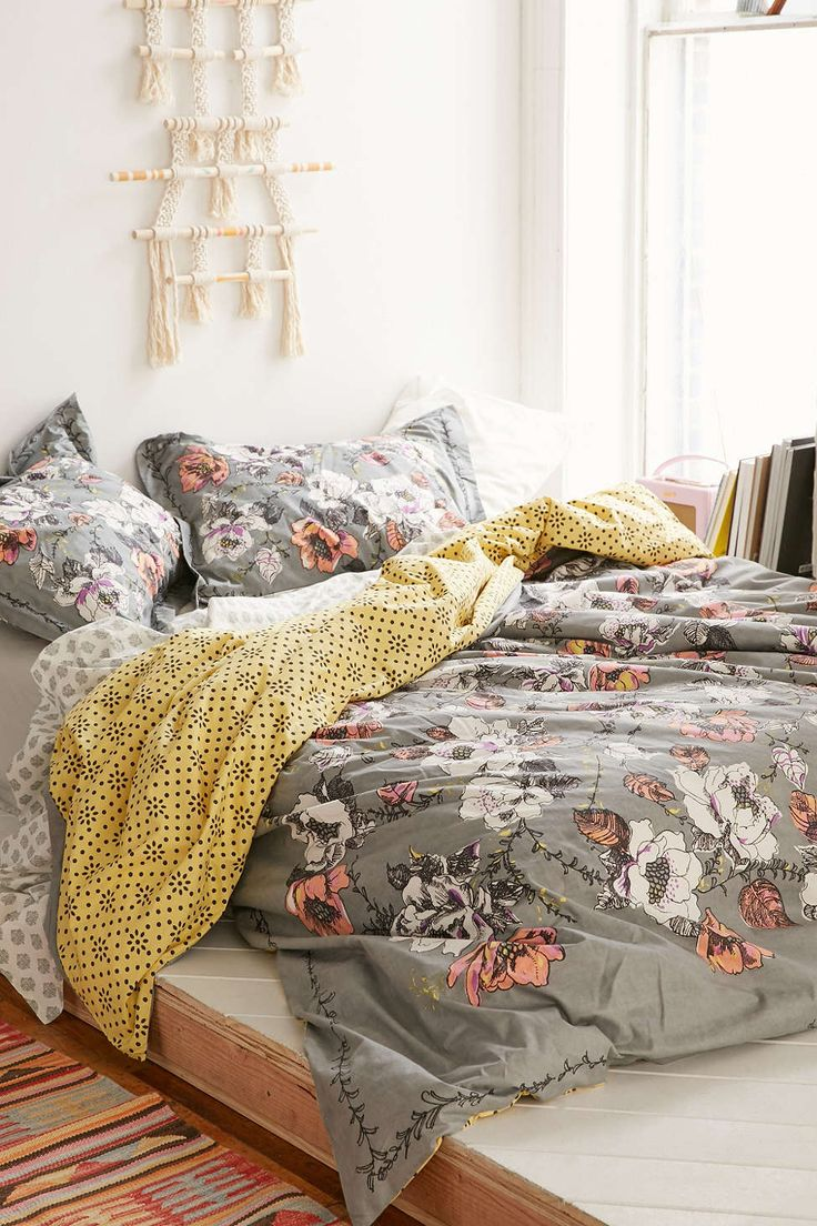 MIXED PATTERNS - FLORAL AND GEO Plum & Bow Olivia Duvet Cover - Urban Outfitters