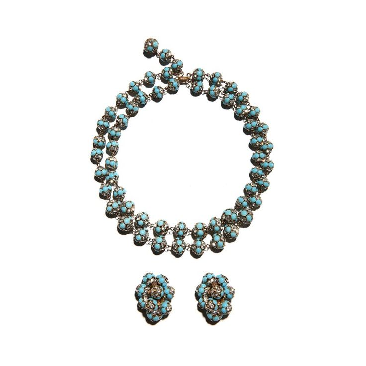 Vintage Gripoix for Chanel necklace and earrings set, c. 1955