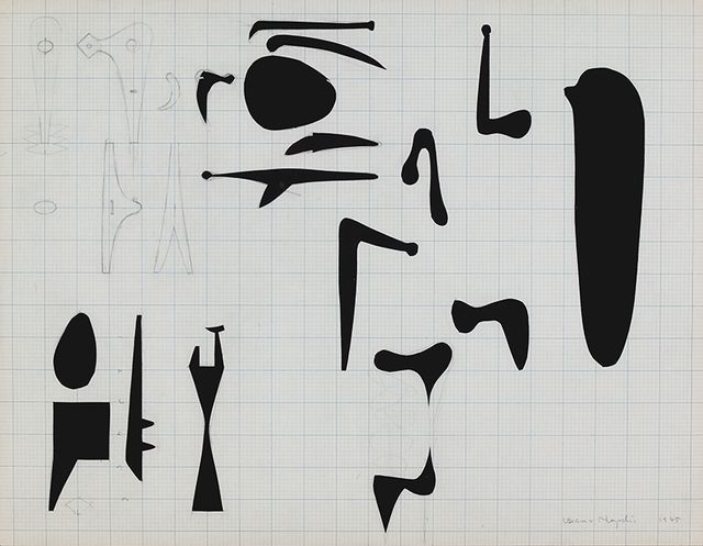 Isamu Noguchi, Work Sheets for Sculpture, 1945. Graphite and collaged graph paper with cutouts on paper, 17 × 21 15/16 in. (43.2 × 55.7 cm). Whitney Museum of American Art, New York
