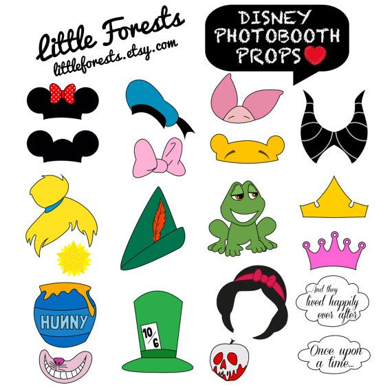 Disney Photo Booth Props - Mickey Mouse, Disney Princess, Pooh, Peter Pan - DIY, Printable, Digital, Photobooth. $5.00, via Etsy.