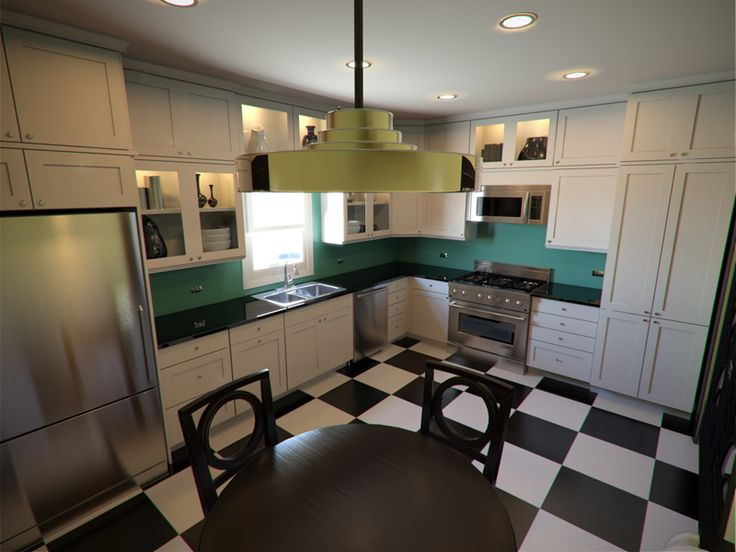 Art Deco Kitchen Cabinets Part - 40: ART DECO KITCHENS | Lively Yellow (left) For Walls, Larchmere (top)