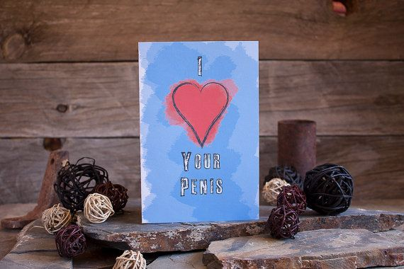 Valentine's Day Card For Men Mature Sexy Heart Penis by sylvannest, $5.00