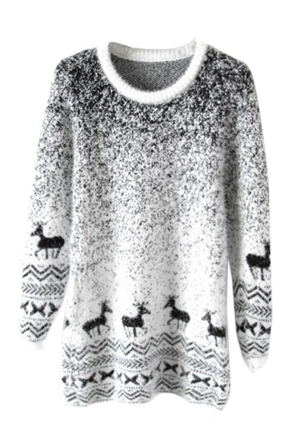 Black Mohair Reindeer Pullover Gradient Ugly Christmas Sweater on sale at…