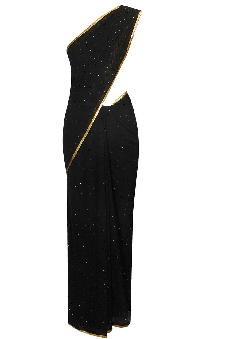 Black shimmer georgette saree with dull gold embellished blouse available only at Pernia's Pop Up Shop.