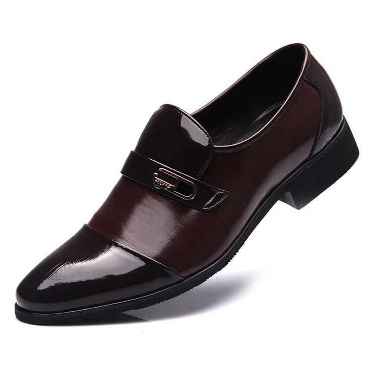 Shenn Hombre Británico Diseño Ponerse Bajo Top Vestir Cuero Zapatos (Negro,EU39.5)