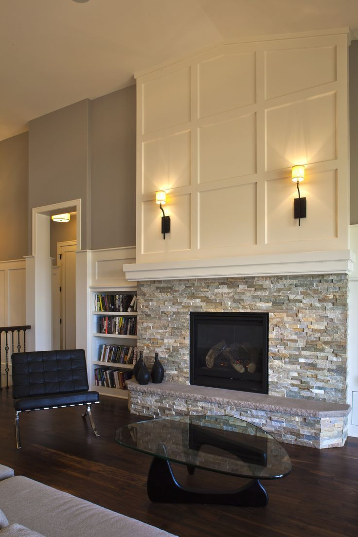Fireplace Ideas. Tile on the bottom. Simple mantle over and then bead board above