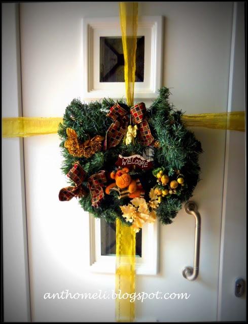 Chistmas on your door!  anthomeli.blogspot.com: DIY στεφάνι για την πόρτα και ολοκλήρωση του χριστουγεννιάτικου στολισμού- 11 μέρες ως τα Χριστούγενννα!