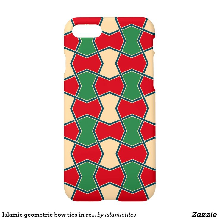 Islamic geometric bow ties in red and green