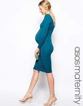 Image 1 of ASOS Maternity Body-Conscious Dress With Sweetheart Neck