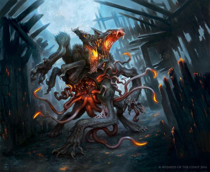 Erupting Dreadwolf - Eldritch Moon MtG Art