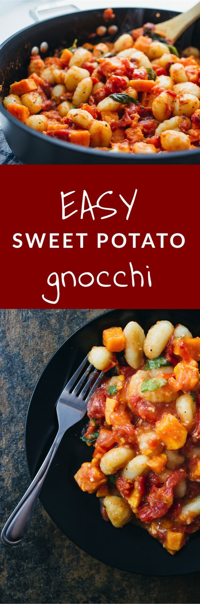 A deliciously creamy gnocchi pasta dish with sweet potato chunks. Everything is covered in the goodness that is a garlicky tomato sauce with basil. This recipe is perfect for weeknight dinners and make for excellent leftovers!