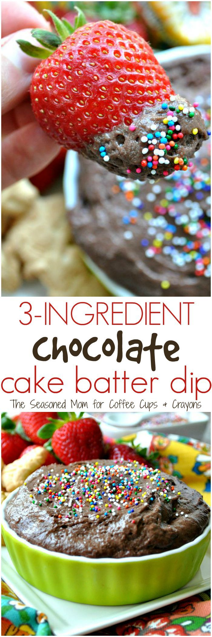 In about 3 minutes you can stir together this easy 3-Ingredient Chocolate Cake Batter Dip! It's a delicious, fast, and kid-friendly party appetizer, sweet treat, or special after-school snack!