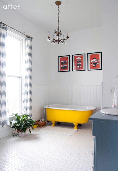 Design Sponge-Before-After - baignoire repeinte en jaune