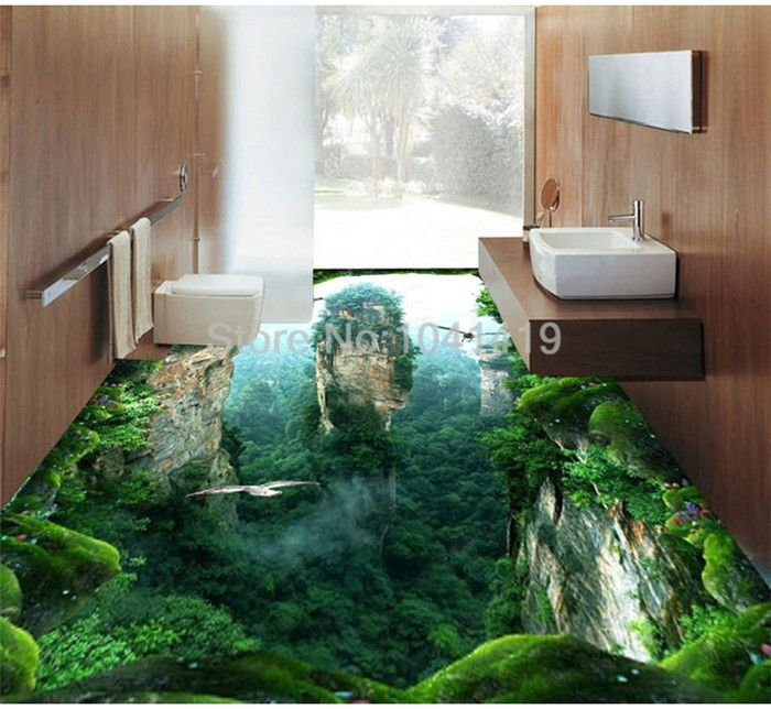 Custom 3d Mural Floor Wallpaper Cliff Scenery Pvc Wear Waterproof For Bathroom 3d Floor Wall Stickers Vinyl Kitchen Wall Paper Fl