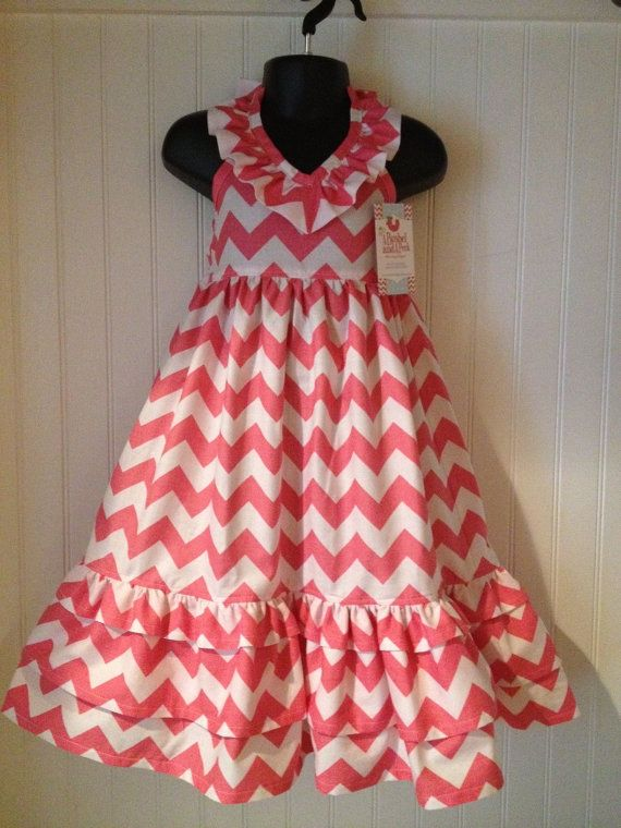 Emmaline Dress .. Maxi Dress .. Easter Dress .. Chevron fabric .. Sizes 2T - 10 Floor Length Dress. via Etsy.