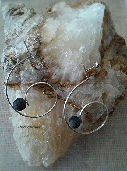 EARRINGS FROM SILVER AND VOLCANIC STONE