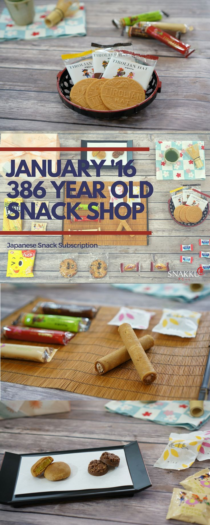 The January Snakku Japanese snack subscription box was filled with delicious snacks featuring a 386-year-old snack shop. The renowned Tirolian roll cookies, Tirolian Hat, Hanachidori, and Tirolian Chococrunch included in the box are all still made by hand using the original recipes passed down since 1630! We also added other snacks like Pretz corn, Happy Turn rice crackers, lemon yogurt candy, just to name a few, to make your Snakku snack box even more special.