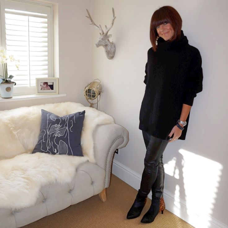 How to style an overszied roll neck jumper with leather leggings & leopard print ankle boots. #ootd #wiw #lotd #over40 #over40fashion #fashion #howtodresswhenyoureover40 #over40style #midlife #whattowear #howtostyle #style #stylingtips #leather #leatherleggings #oversizedrollneckjumper #leopardprintankleboots #leopardprint #animalprint #rollneckjumper #leggings