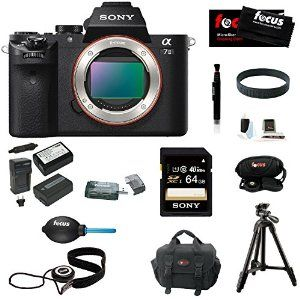 Sony Alpha a7II Interchangeable Digital Lens Camera (Body) With Sony 64GB SDHC Memory card, Sony VCT-R100 Tripod, 2 Additional NP-FW50 High Quality Batteries and Charger, Focus DSLR System Camera Case, Accessory Bundle