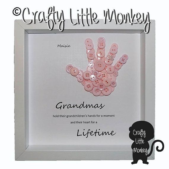 Personalised Framed Button Handprints by CraftyLittleMonkey14